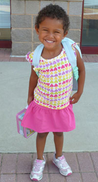 Zoie on her first day of preschool